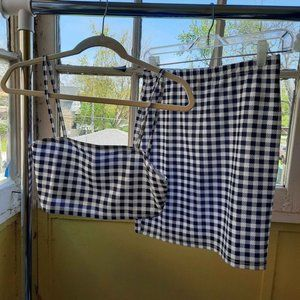 Gingham Cami Crop Top and Skirt Co-ord Set